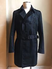 GAZZARRINI AMAZING OUTWEAR BLACK LONG TRENCH COAT JACKET S XXL 54 MADE IN ITALY