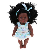 Real Life 12inch Reborn African American Baby Girl Doll Soft Silicone Newborn