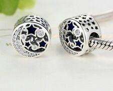 925 Plata Hermosa Estrellas y Luna encanto con tachas de circonio cúbico