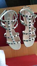 Valentino NIB 945 rockstud caged flat sandal light ivory shoes EU 38