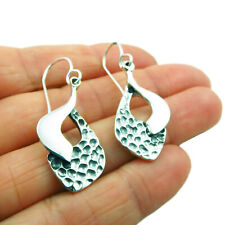 Two Tone Textured and Polished 925 Sterling Silver Earrings
