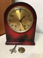 Rare Antique Gilbert Mantle Clock Chinosserie Japanned Asian Design