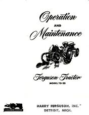 Ferguson Tractor TO-20 Owners / Operation and Maintenance Manual