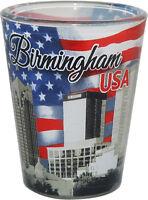 BIRMINGHAM ALABAMA USA FLAG AND SKYLINE SHOT GLASS SHOTGLASS