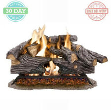 Vented Gas Fireplace Log Set Glowing Embers Heater Decorative Fire Rocks Warmer