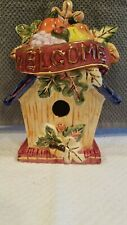 """Hand Painted Colorful Ceramic Birdhouse with fall motifs for Home Decor 8"""" Tall"""
