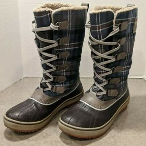 Sorel Tivoli Waterproof Fleece Lined Boots Women's Size 9 Blue Plaid