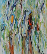BIRDS Abstract Modern Signed Artist Acrylic Painting Canvas unframed Art Decor