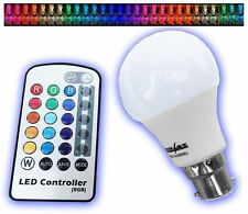POWERSAVE BC B22 REMOTE CONTROLLED COLOUR CHANGING LIGHT BULB LED ENERGY SAVING