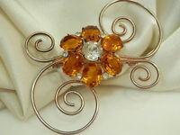 Sterling signed Vintage 40's Deco Open Crystal Rhinestone Flower Brooch 1023J5