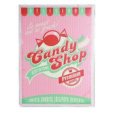 Targa da Parete in Metallo 30x40 Candy Shop Insegna Quadro Cartello Vintage