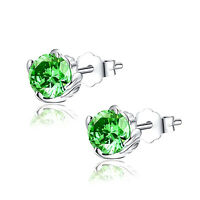Sterling Silver 1.0 cttw Round Shaped Created Emerald Gemstone Stud Earrings