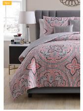 New Grey Medallion 5 Piece King Size Comforter Set Reversible Bedspread Shams