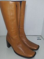 Freelance Free Lance Tan Leather Mid Calf Womens Size 39.5 Side Zipper Square To