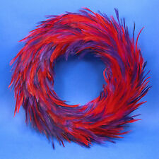 """RED HAT SOCIETY CHRISTMAS WREATH DECORATION PURPLE & RED FEATHERS 12"""" NEW IN BOX"""