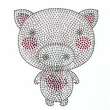 Rhinestone Iron On Transfer Hot fix Motif Fashion Design Jewellery Pink Pig deco