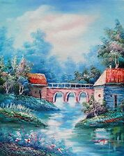 CANAL BRIDGE Hand Signed Original Oil Painting on Canvas - SALE 75% OFF