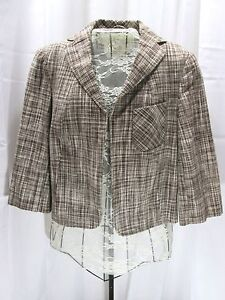 Talbots Petites Blazer Jacket Brown Plaid Linen Cotton Short Fitted Size 6P