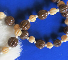Czech molded melon graduated bead necklace beige & brown colors