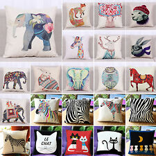 "18"" Cotton Line Throw Pillow Case Animal Print Cushion Cover Home Car Sofa Decor"