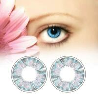1 Pair Contact Lenses Color Soft Big Eye UV Protection Cosmetic Blue Clover AS