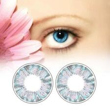 1 Pair Contact Lenses Color Soft Big Eye UV Protection Cosmetic Blue Clover D9
