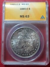 1885-O  MORGAN SILVER DOLLAR, ANACS Graded MS 63, BEAUTIFUL New Orleans COIN