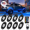 8Pcs Neon LED Rock Light Kit RGB Underglow Lamp Offroad Car Truck Remote Control