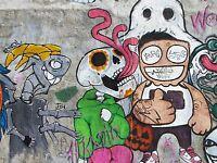 ART PRINT POSTER PAINTING STREET GRAFFITI SKULL THUMBS UP COOL CREATURELFMP1148