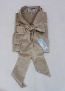 Hawes & Curtis Women's Fitted Satin Blouse CD4 Taupe Size US:18 NWT