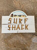 """16.75"""" x 11"""" HANDCARVED & PAINTED WOOD """"SURF SHACK"""" WALL DECOR SIGN!"""