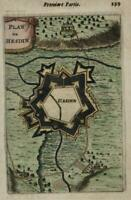 Hesdin France fortified city 1672 Mallet miniature map hand color