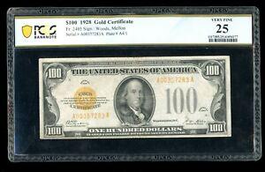 DBR 1928 $100 Gold Certificate Fr. 2405 PCGS-B 25 Serial A00357283A