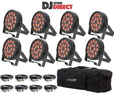 8X QTX PAR100 Powerful Par Can COB LED RGB UP LIGHTS PAR56 + F8 Bag + 8X DMXs
