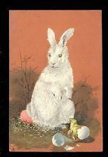 Greetings Easter Tuck Art Series  #1793 Rabbit Chick Embossed chromo PPC