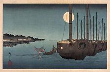 Japanese Art: Hiroshige: Fukeija - Moonlight on the River:  Fine Art Print