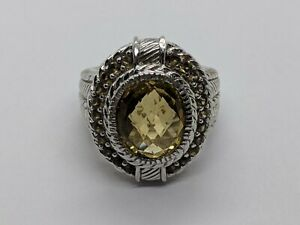 Genuine JUDITH RIPKA Sterling Silver Oval Champagne Stone Size 5.25 FREE SHIP