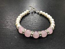 Rose Quartz Pearl Natural Gemstone Fertility Bracelet Healing Love Gift Bag Yoga