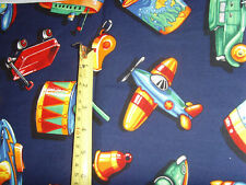 """40x34"""" cars drums bells rockets planes boys novelty blue fabric material sewing"""