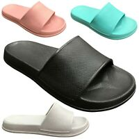 NEW Womens Slide Sandals Solid Colored Soft Rubber Slip On Flops Shoe Size S-XL