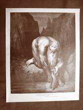 Incisione Gustave Dorè del 1890 Dante Giganti Anteo Divina Commedia Inferno