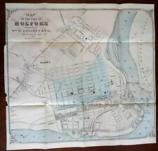 Holyoke Massachusetts city plan 1870-80 W.S. Loomis large folding detailed map