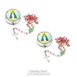 (2) Catholic Rosary with Virgen de la Caridad Medal and metal box ROSMIRC