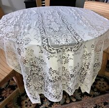 AWESOME Vintage QUAKER LACE Style Oblong Tablecloth Ivory 60x120 Banquet