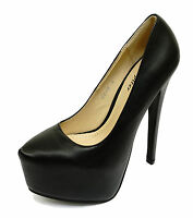 LADIES BLACK SLIP-ON STILETTO HIGH HEEL PLATFORM COURT PARTY EXOTIC SHOES UK 3-8