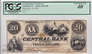 Nashville Tennessee, Rare 1855 Central Bank, Haxby 140-G20 PCGS graded