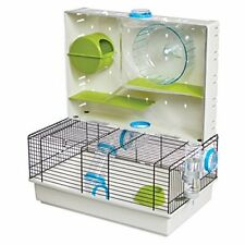 Hamster Cage Arcade Multi Level Exercise Wheel Bowl Water Bottle Cubby New