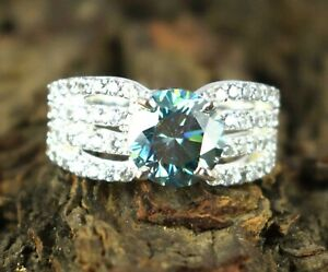 925 Sterling Silver 5.16 Ct Green Diamond Solitaire Round Ring-Latest Collection