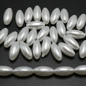 200 Pure White Plastic Faux Pearl Oval Beads 6X12mm Imitation Pearl