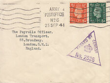 GB GVI WW2 1941 CENSORED cover with 'ARMY POST OFFICE No.6' m/c cancel